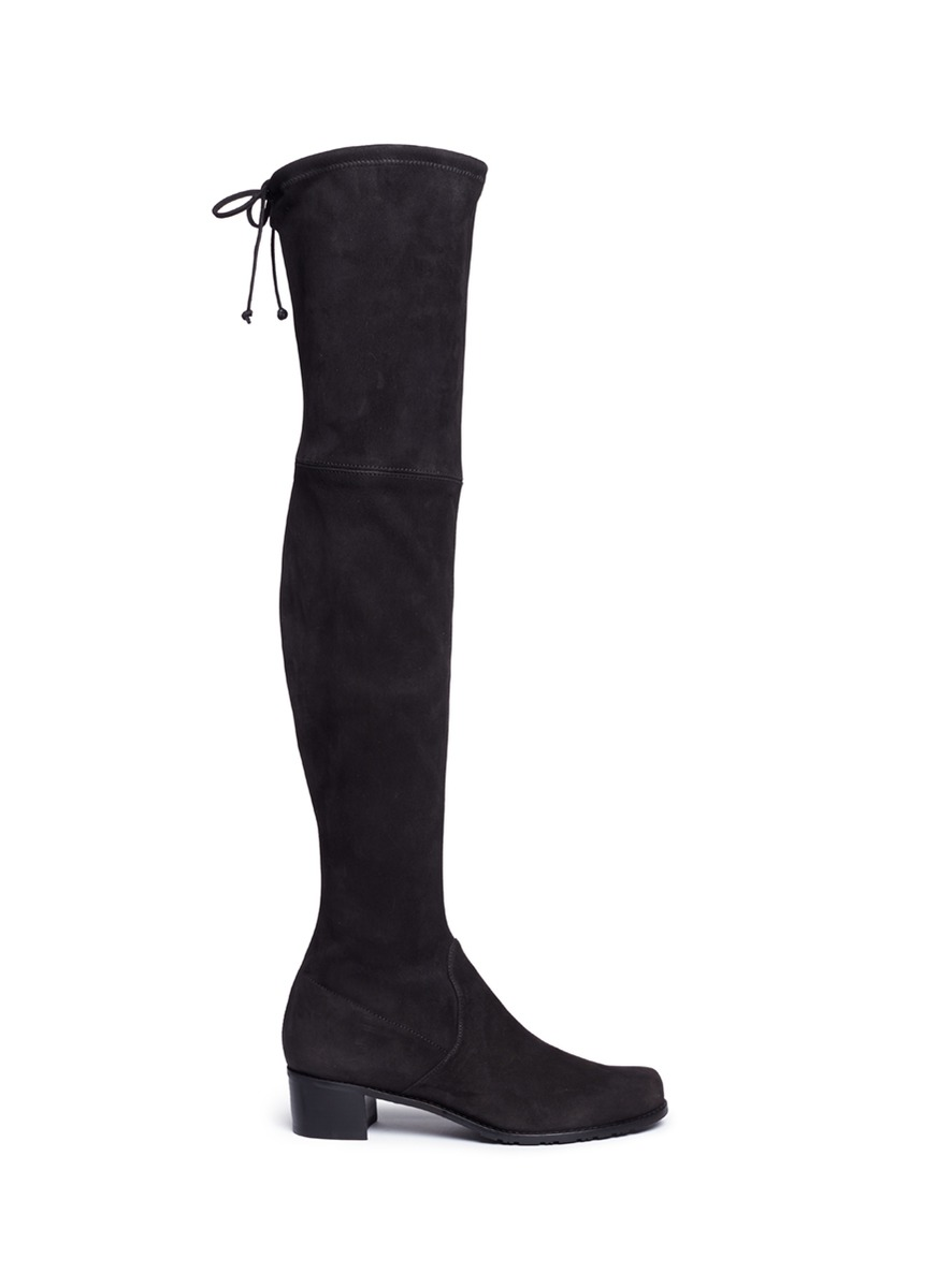 Mid Land stretch suede thigh high boots by Stuart Weitzman