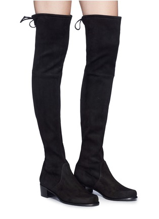 Figure View - Click To Enlarge - Stuart Weitzman - 'Mid Land' stretch suede thigh high boots