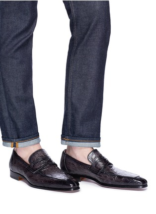 Figure View - Click To Enlarge - MAGNANNI - Crocodile leather penny loafers