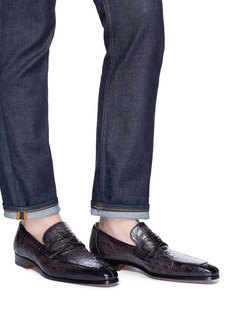 Magnanni Crocodile leather penny loafers
