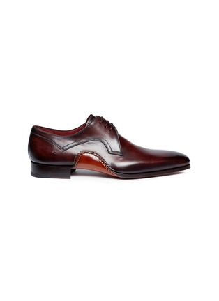 Main View - Click To Enlarge - MAGNANNI - Stitched detail leather Derbies