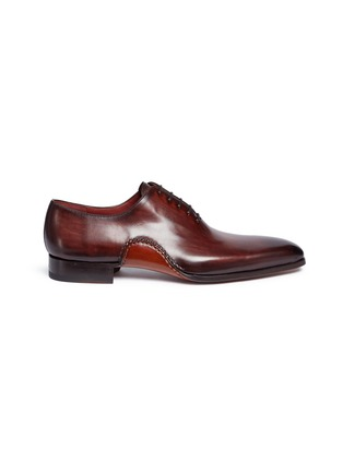 Main View - Click To Enlarge - MAGNANNI - Stitched detail leather Oxfords