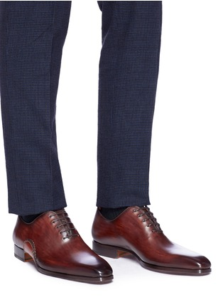 Figure View - Click To Enlarge - MAGNANNI - Stitched detail leather Oxfords