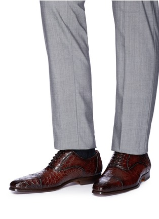 Figure View - Click To Enlarge - MAGNANNI - Crocodile leather Oxfords