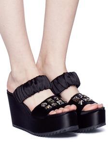 Pedro García 'Deli' Swarovski crystal satin platform sandals