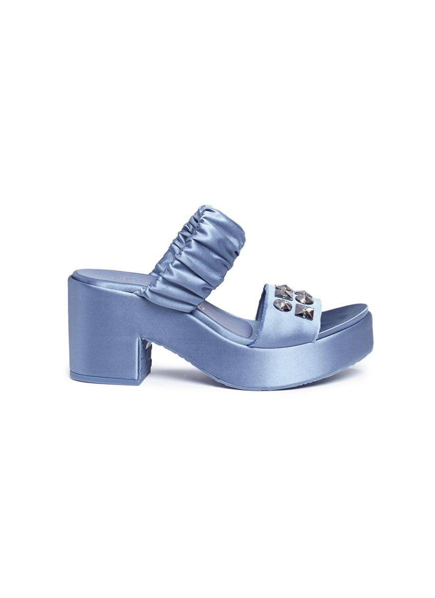 Dama Swarovski crystal satin platform sandals by Pedro García