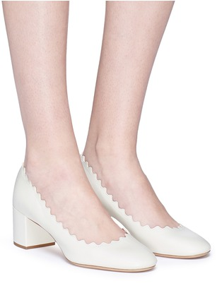Figure View - Click To Enlarge - Chloé - 'Lauren' scalloped nappa leather pumps