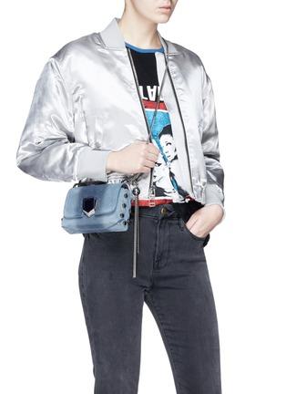Figure View - Click To Enlarge - Jimmy Choo - 'Lockett Mini' stud ombré suede crossbody bag