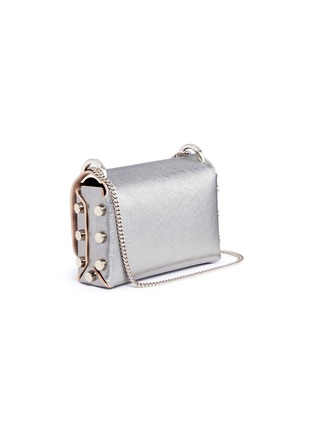 Detail View - Click To Enlarge - Jimmy Choo - 'Lockett Mini' stud mirror leather crossbody bag