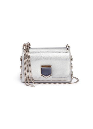 Main View - Click To Enlarge - Jimmy Choo - 'Lockett Mini' stud mirror leather crossbody bag
