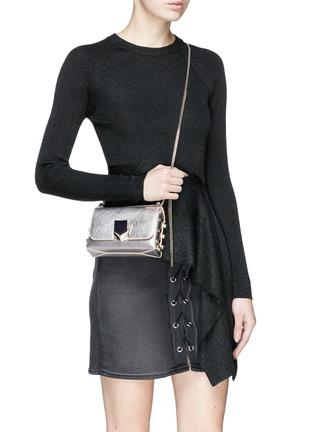 Figure View - Click To Enlarge - Jimmy Choo - 'Lockett Mini' stud mirror leather crossbody bag