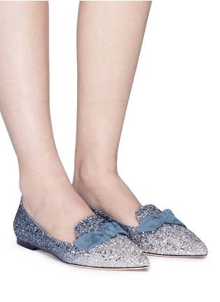 Figure View - Click To Enlarge - Jimmy Choo - 'Gabie Flat' suede bow dégradé glitter loafers