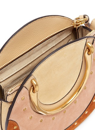 Detail View - Click To Enlarge - Chloé - 'Pixie' small bracelet handle colourblock suede crossbody bag