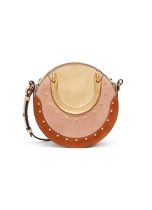Main View - Click To Enlarge - Chloé - 'Pixie' small bracelet handle colourblock suede crossbody bag