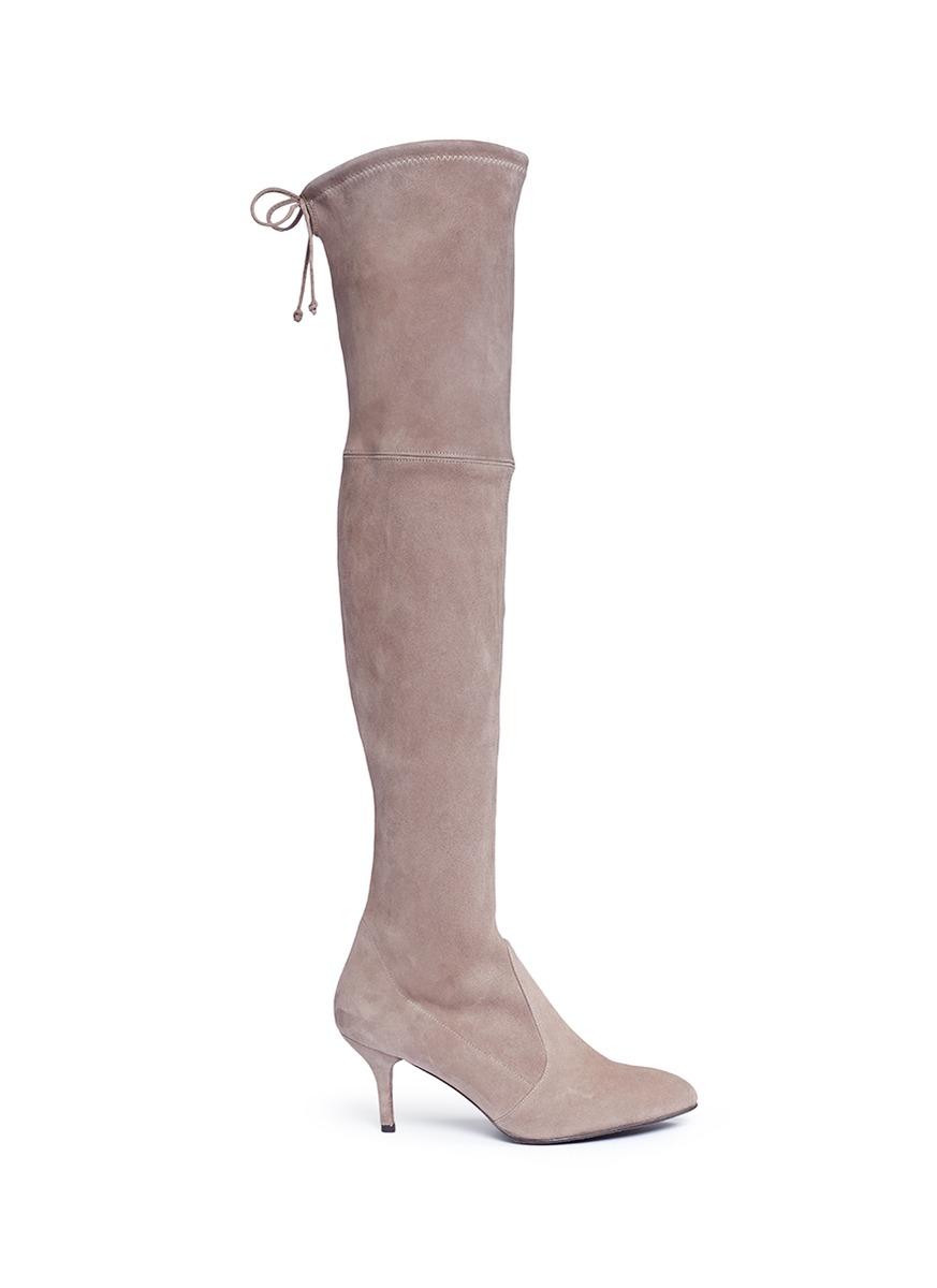Tie Model stretch suede knee high boots by Stuart Weitzman