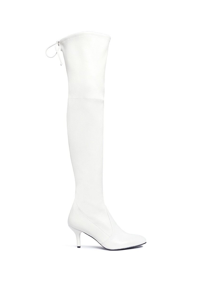Tie Model stretch leather knee high boots by Stuart Weitzman