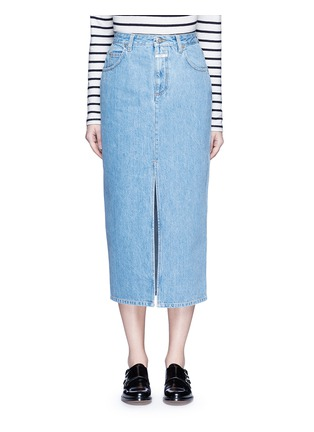Main View - Click To Enlarge - Closed - 'Clara' front slit denim skirt