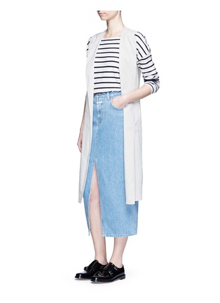 Figure View - Click To Enlarge - Closed - 'Clara' front slit denim skirt