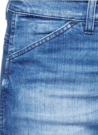 Detail View - Click To Enlarge - Closed - 'Niki' frayed ombré cuff cropped flare denim pants