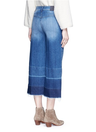 Back View - Click To Enlarge - Closed - 'Niki' frayed ombré cuff cropped flare denim pants