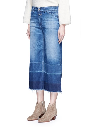 Front View - Click To Enlarge - Closed - 'Niki' frayed ombré cuff cropped flare denim pants