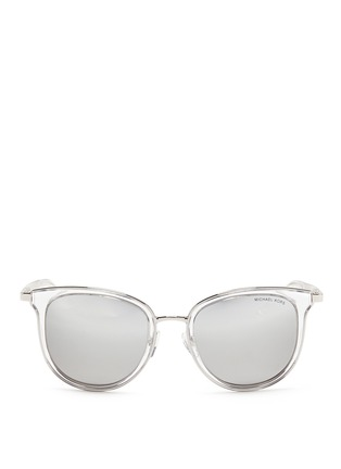 Main View - Click To Enlarge - Michael Kors - 'Adrianna I' inset acetate rim metal mirror sunglasses