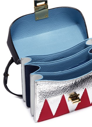 Detail View - Click To Enlarge - THE VOLON - 'Data London' small metal handle colourblock leather bag