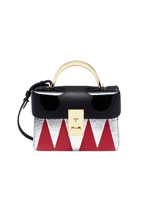 Main View - Click To Enlarge - THE VOLON - 'Data London' small metal handle colourblock leather bag