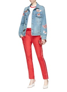 Valentino Beaded butterfly patch denim jacket