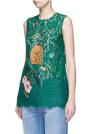 Front View - Click To Enlarge - Dolce & Gabbana - Embellished guipure lace sleeveless top