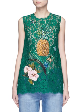 Main View - Click To Enlarge - Dolce & Gabbana - Embellished guipure lace sleeveless top