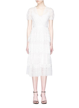Main View - Click To Enlarge - NEEDLE & THREAD - Floral embroidered ruffle tulle dress