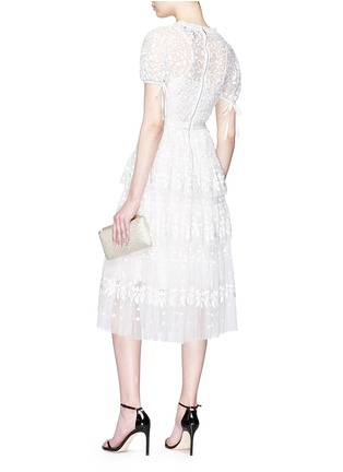 Figure View - Click To Enlarge - NEEDLE & THREAD - Floral embroidered ruffle tulle dress