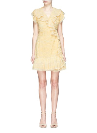 Main View - Click To Enlarge - NEEDLE & THREAD - Ruffle embroidered georgette wrap dress