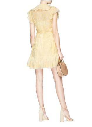 Figure View - Click To Enlarge - NEEDLE & THREAD - Ruffle embroidered georgette wrap dress