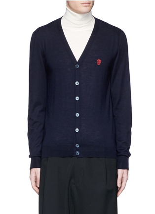 Main View - Click To Enlarge - Alexander McQueen - Skull embroidery cashmere cardigan