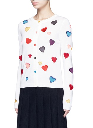 Front View - Click To Enlarge - alice + olivia - Rainbow button hearts embroidery wool cardigan