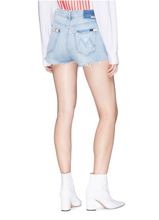 Back View - Click To Enlarge - MOTHER - 'Easy Does It' contrast stitch denim shorts