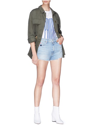 Figure View - Click To Enlarge - MOTHER - 'Easy Does It' contrast stitch denim shorts
