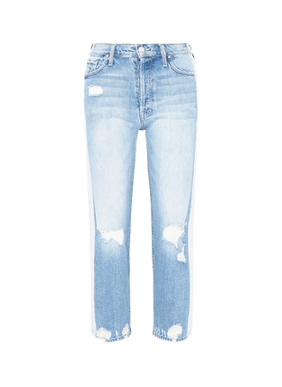 Main View - Click To Enlarge - MOTHER - 'Thrasher' stripe outseam ripped jeans
