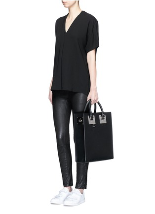 Figure View - Click To Enlarge - Vince - Pintuck pleat V-neck blouse