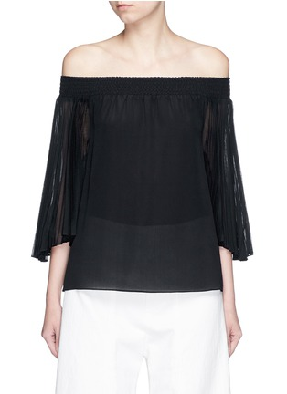 Main View - Click To Enlarge - alice + olivia - 'Elina' pleat sleeve off-shoulder top