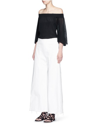 Figure View - Click To Enlarge - alice + olivia - 'Elina' pleat sleeve off-shoulder top
