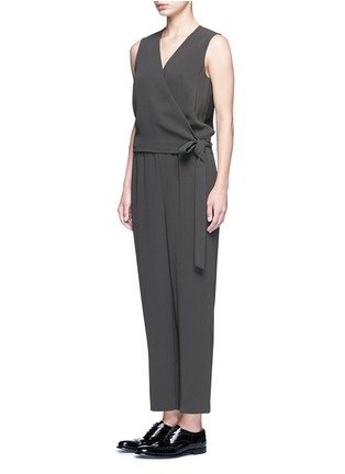 Front View - Click To Enlarge - THEORY - 'Alvmie' wrap front crepe jumpsuit