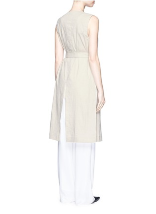 Back View - Click To Enlarge - Theory - 'Skea' tie waist linen blend long vest