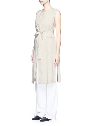 Front View - Click To Enlarge - Theory - 'Skea' tie waist linen blend long vest