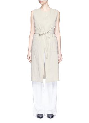 Main View - Click To Enlarge - Theory - 'Skea' tie waist linen blend long vest