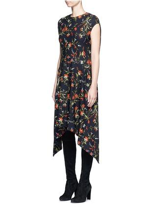Front View - Click To Enlarge - Balenciaga - Cutout hem floral print dress