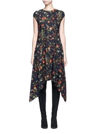 Main View - Click To Enlarge - Balenciaga - Cutout hem floral print dress