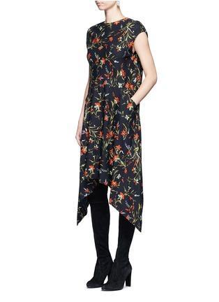 Figure View - Click To Enlarge - Balenciaga - Cutout hem floral print dress